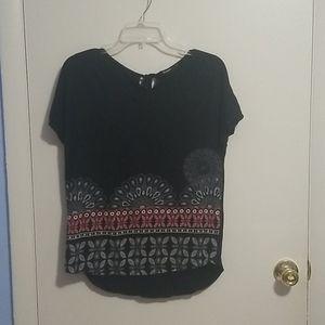 Desigual Black Geometric M Short Sleeve Shirt
